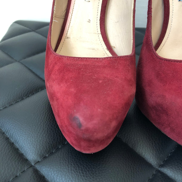 Prada Red Suede Pumps Size 37.5