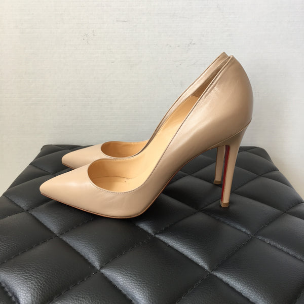 Christian Louboutin Nude Leather Pigalle 100 Pumps Size 38