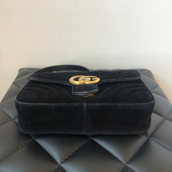 Gucci Black Velvet Mini GG Marmont Crossbody Bag