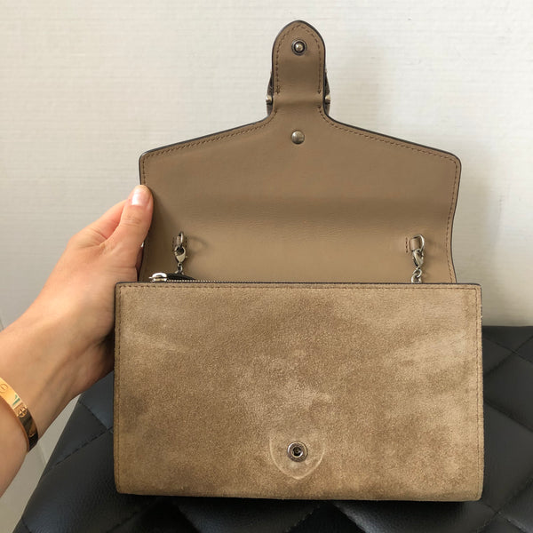 Gucci Taupe Suede Dionysus Chain Wallet Bag