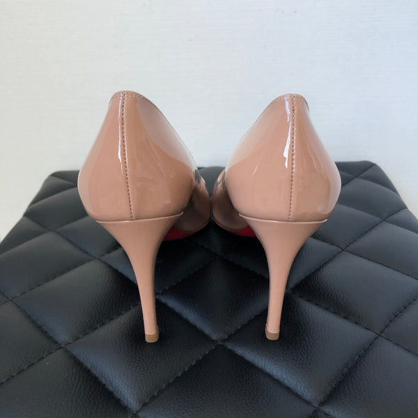 Christian Louboutin Nude Patent Simple 85 Pump Size 37.5