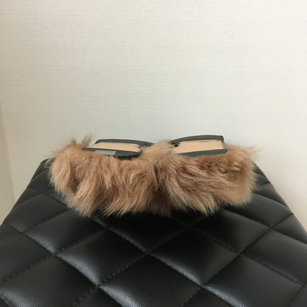 Gucci Women's Black Fur Princetown Slippers Size 40