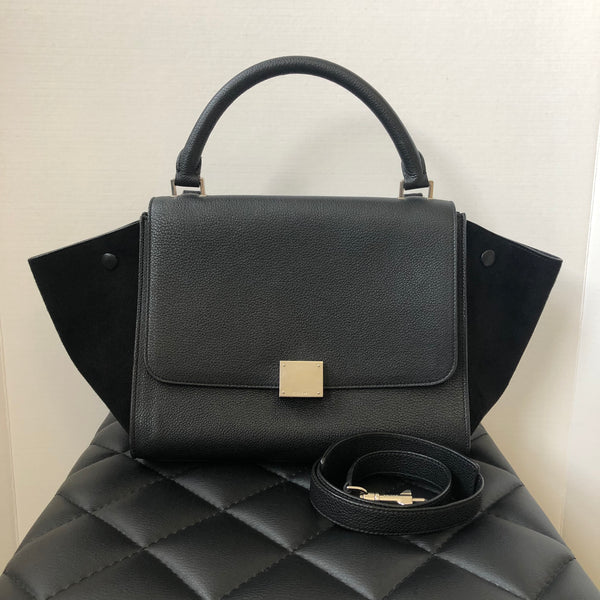 Celine Small Black Drummed Calfskin/Suede Trapeze Shoulder Bag