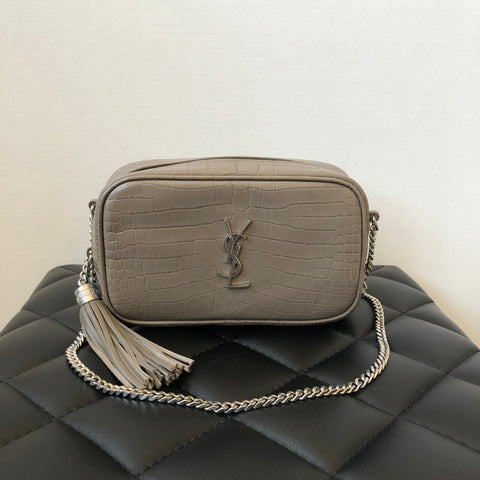 SAINT LAURENT Grey Taupe Croc-Embossed Leather Mini Lou YSL Monogram Crossbody Bag