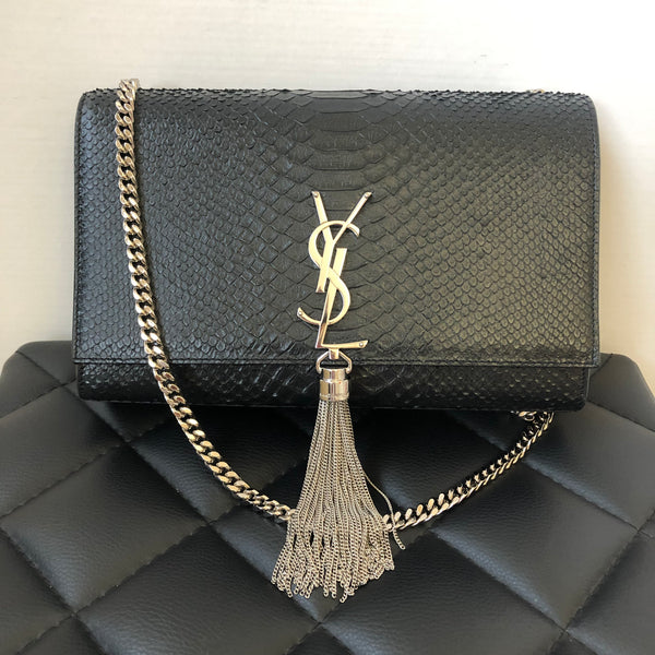 Saint Laurent Black Medium Kate with Tassel in Python Embossed Leather