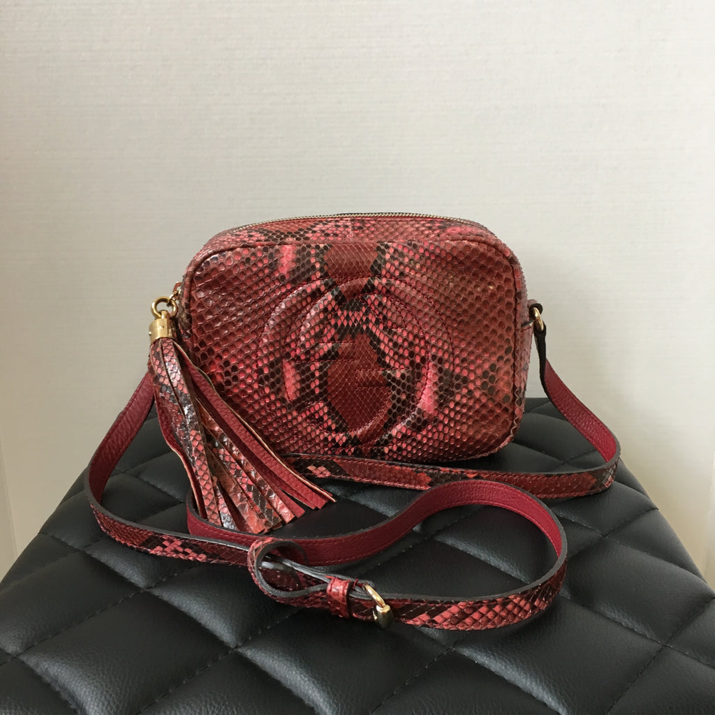 Gucci Red Pink Python Soho Disco Camera Bag Forever Red Soles