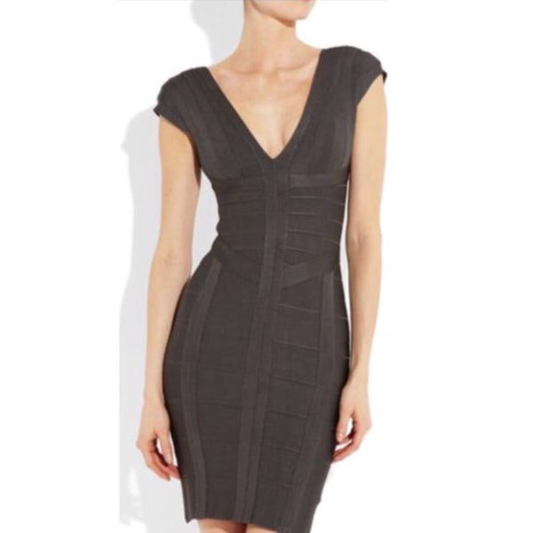 "Herve Leger ""Shadow"" Grey Bandage Dress Size Small (fits US 4-6)"