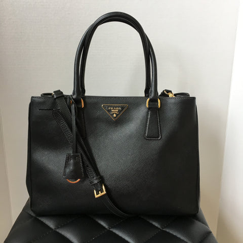 Prada Medium Saffiano Black Crossbody Tote