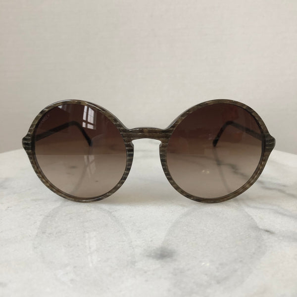 Chanel Brown Glitter Stripe Round Sunglasses