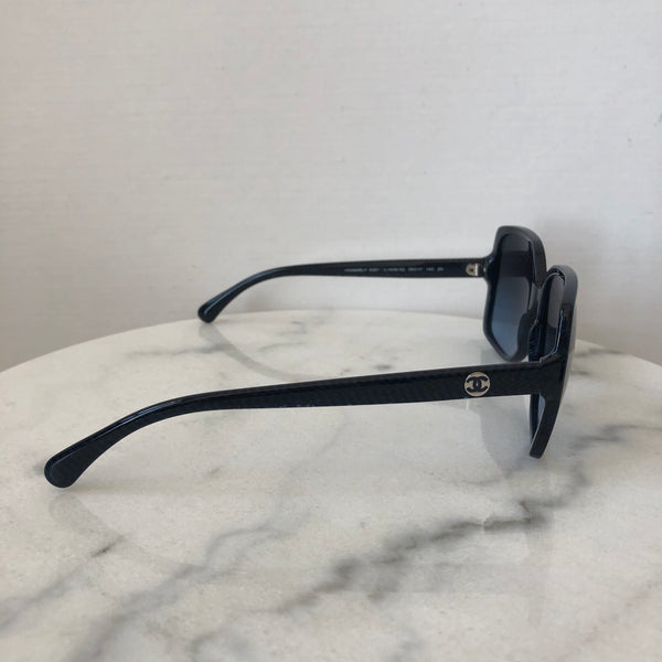 Chanel Blue/Black Pattern Sunglasses