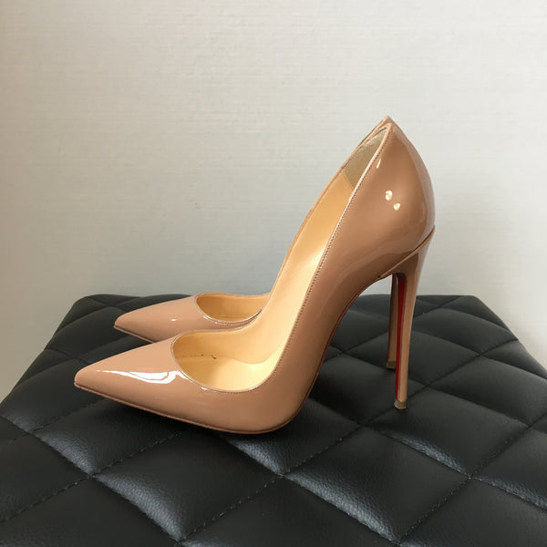 Christian Louboutin Nude Patent So Kate 120 Pumps Size 36