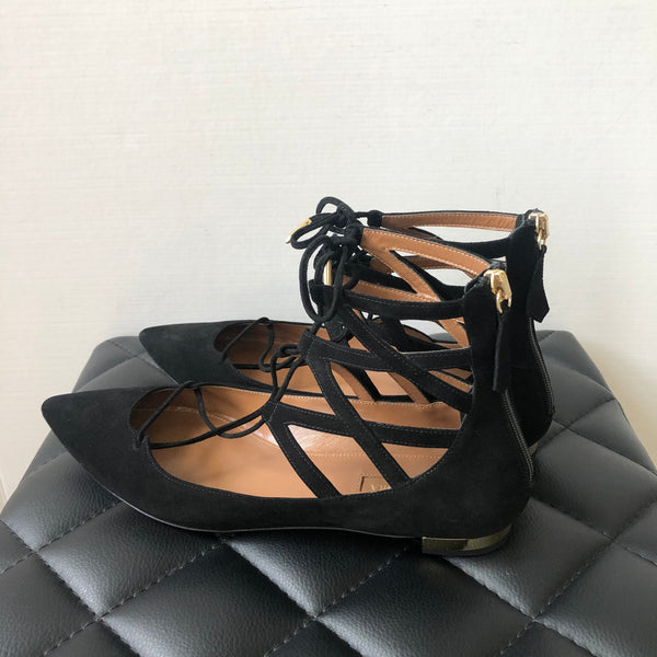 AQUAZZURA Black Belgravia suede point-toe flats Size 38