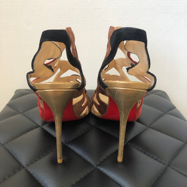 Christian Louboutin Multicolor Suede/Leather Sandals Size 40