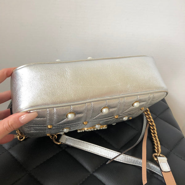 Gucci Silver Marmont Studded Pearl Small Crossbody Bag