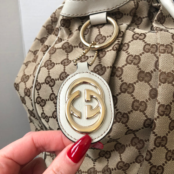 Gucci Large Monogram Canvas Shoulder Bag