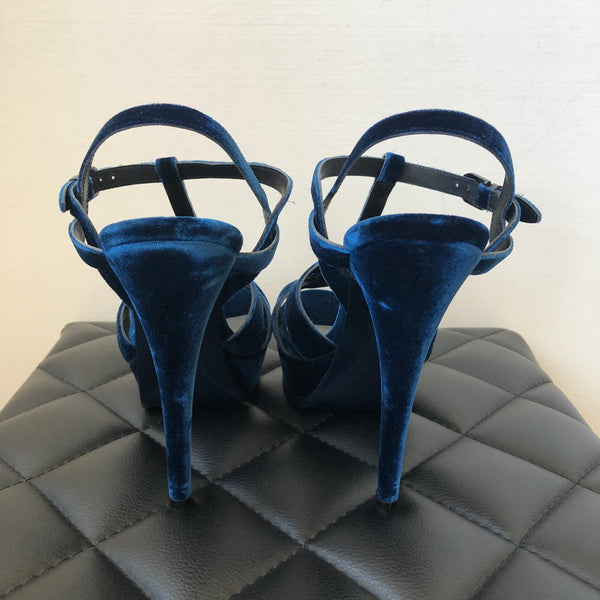 Saint Laurent Blue Velvet Tribute Sandals Size 39