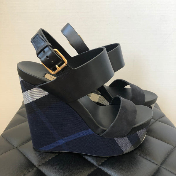 Burberry Black/Indigo Blue Housecheck Wedges Size 38.5