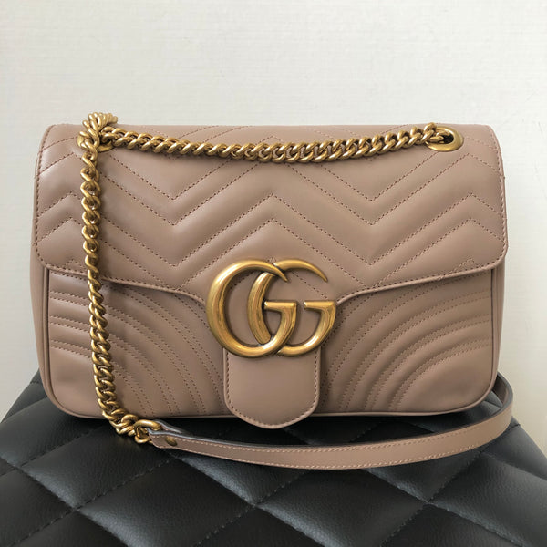 Gucci Dusty Pink GG Marmont medium matelassé shoulder/crossbody bag