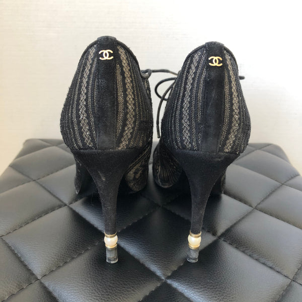 Chanel Black Lace Booties Size 37
