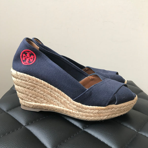 Tory Burch Navy Wedge Espadrilles Size 6