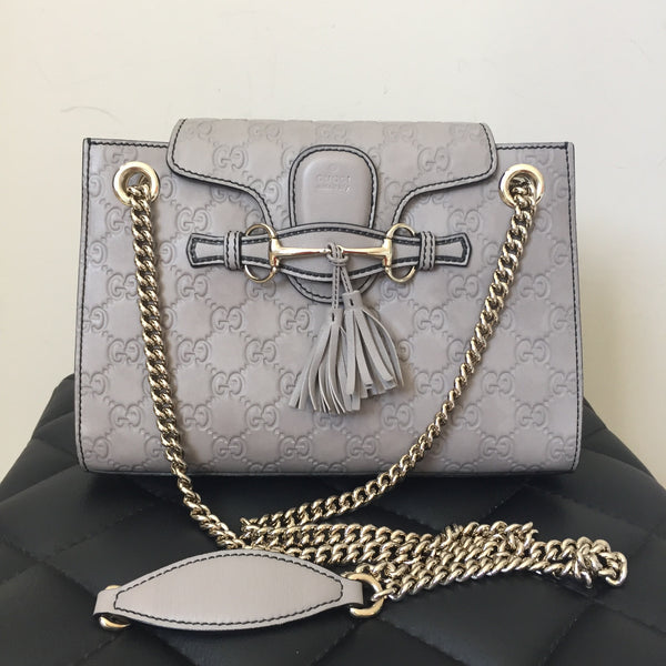 bd14b649145e Gucci Small Emily Guccissima Storm Grey Shoulder Bag | Forever Red Soles