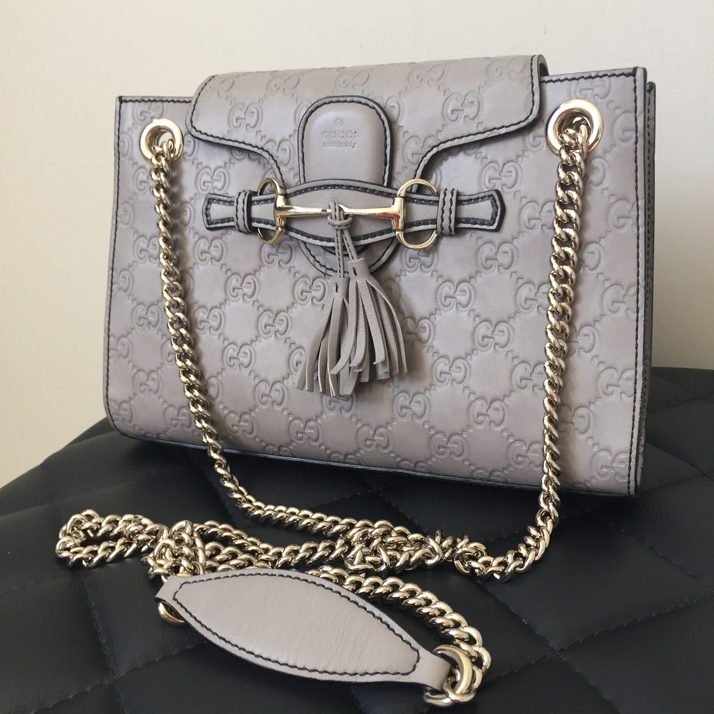 5f53ae5c1bf0 Gucci Small Emily Guccissima Storm Grey Shoulder Bag | Forever Red Soles