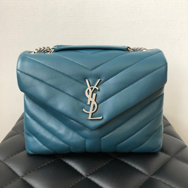 Saint Laurent Dark Turquoise Small Loulou Matelassé Leather Crossbody/Shoulder Bag