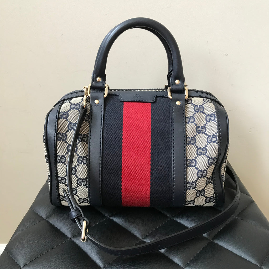 b16138b096 Gucci Dark Blue Vintage Web Original GG Boston Bag