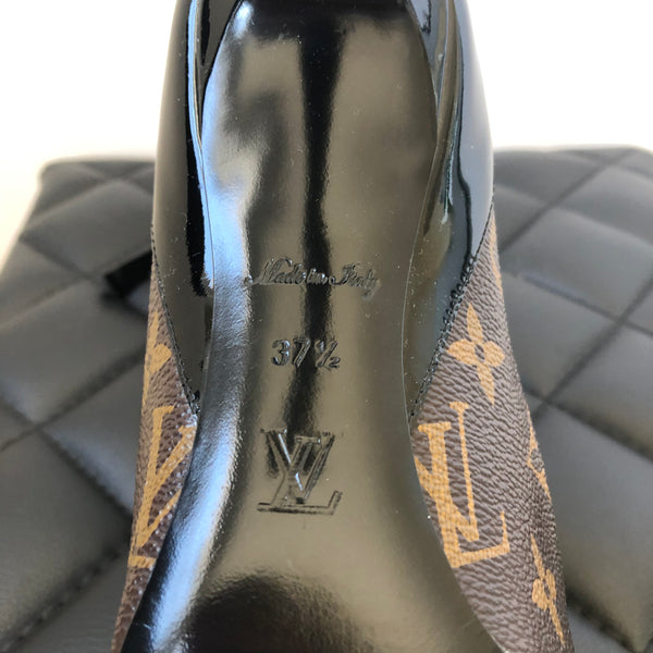 Louis Vuitton CHERIE Monogram/Black Patent Pumps Size 37.5