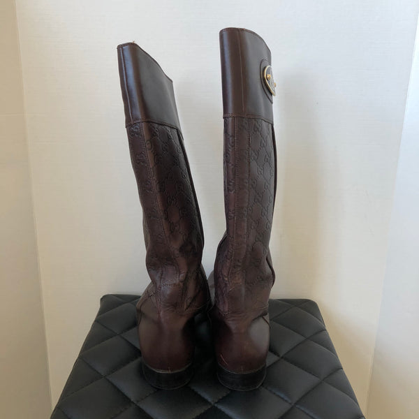 Gucci Dark Brown Leather Monogram Boots Size 39.5