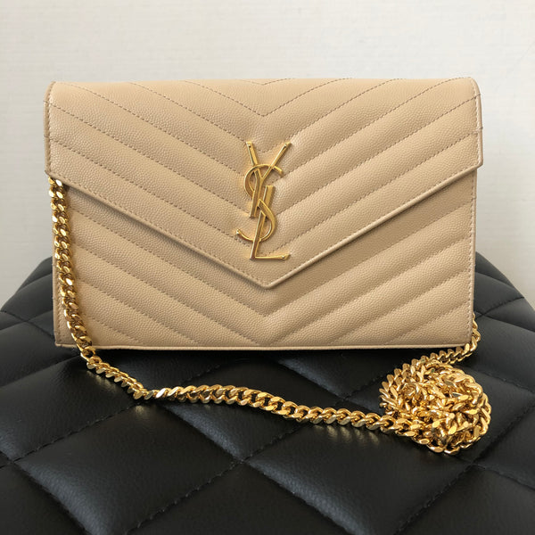 Saint Laurent Beige Textured Matelasse Leather WOC