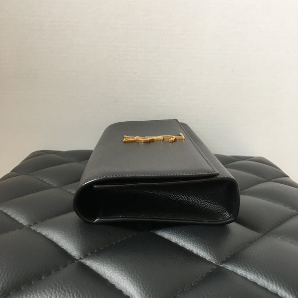 Saint Laurent Black Grained Kate Clutch