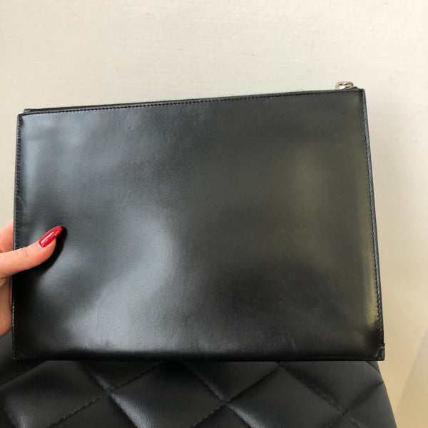 Saint Laurent Black Clutch/Pouch with Silver Hardware