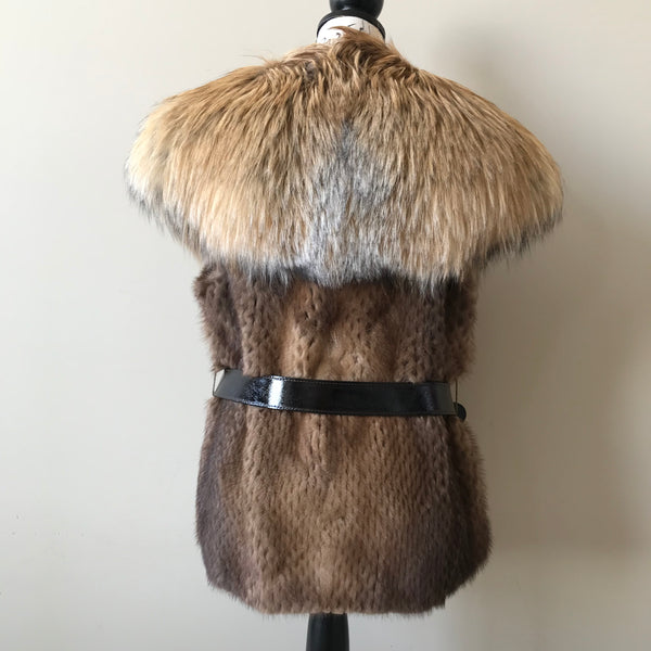 Holt Renfrew Mink and Fox Belted Vest Size Medium (fits US 6-8)