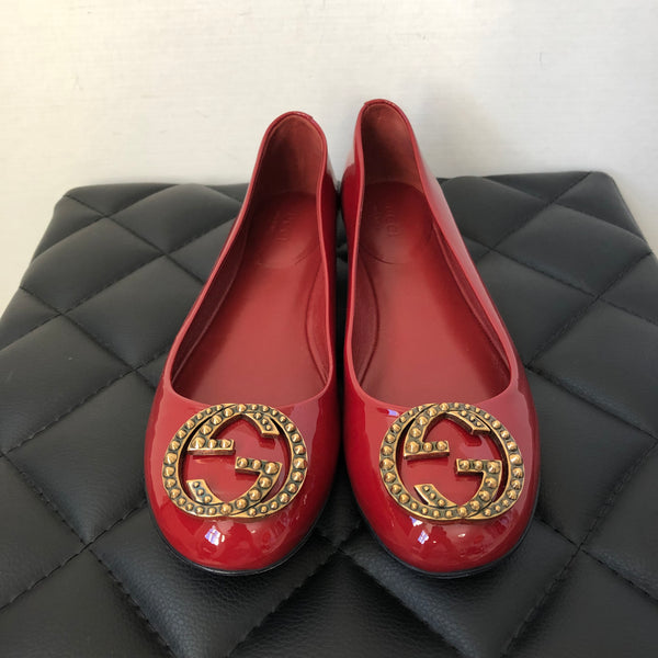 Gucci Red Patent Flats Size 36