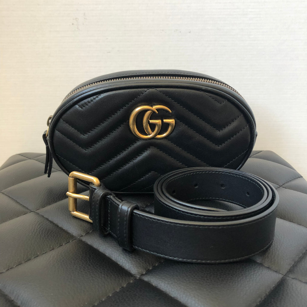 71a8e0d55ed Gucci Black GG Marmont matelassé leather belt bag