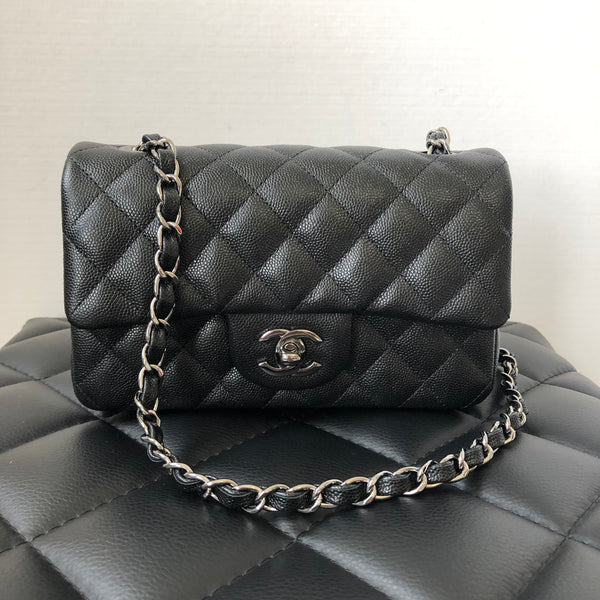 Chanel Black Iridescent Caviar Quilted Mini Rectangular Flap