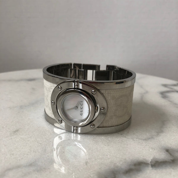 Gucci Twirl Stainless Steel Ivory Bangle Watch