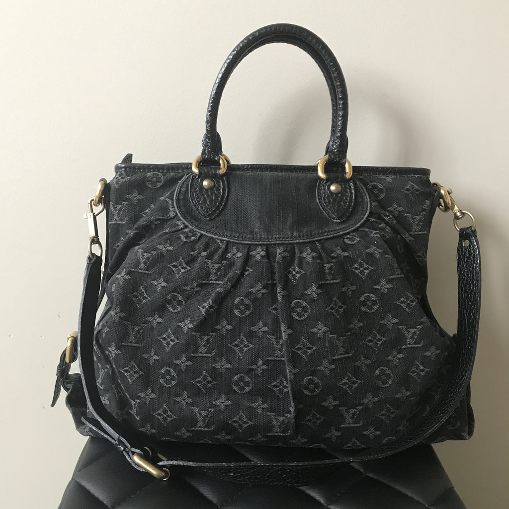 d602d5acf862 Louis Vuitton Black Denim Monogram Neo Cabby GM Crossbody Shoulder Bag