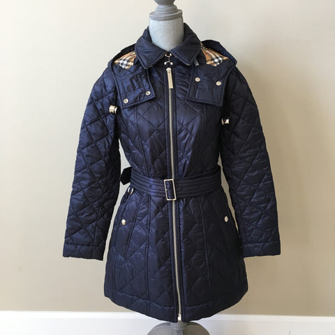 Burberry Ink Blue Diamond Lightweight Quilted Jacket Size Small