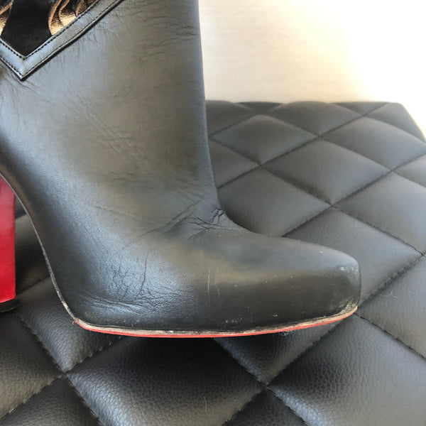 Christian Louboutin Black Leather/Suede Boots Size 40