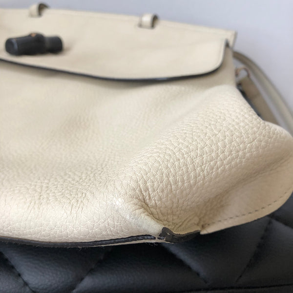 Gucci Ivory Borsa Bamboo Daily Cellarius Top Handle Crossbody Bag