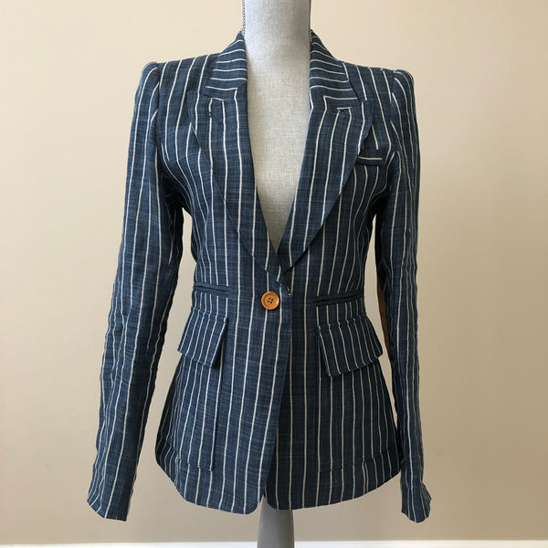 Smythe Dark Blue Stripe Blazer Size 8 (fits US 6)