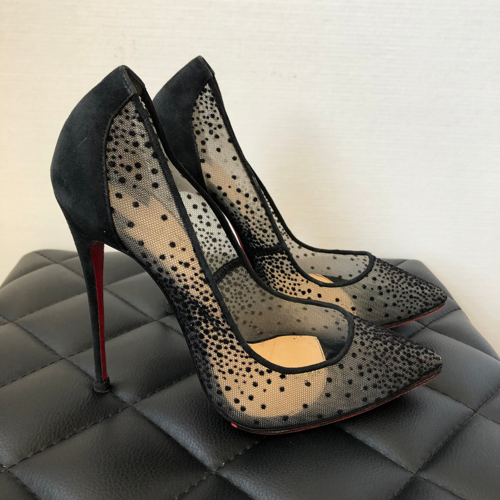pretty nice df214 5c5a9 Christian Louboutin Black Follies Lace 120 Chiffon/Suede Pumps Size 38
