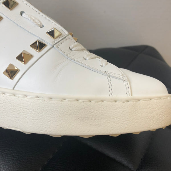Valentino White Rockstud Sneakers Size 36.5