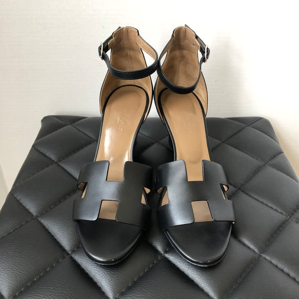 Hermes Black Legend Sandals Size 37.5