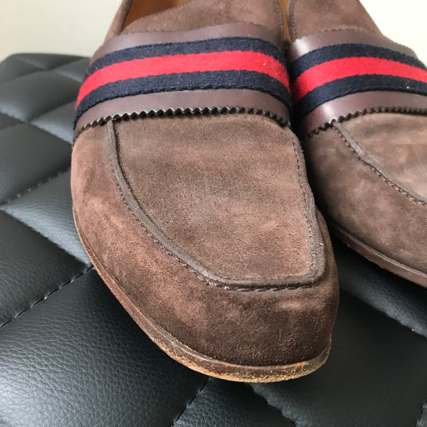 Gucci Men's Brown Web Suede Loafers Size 9 (fits US 9.5-10)