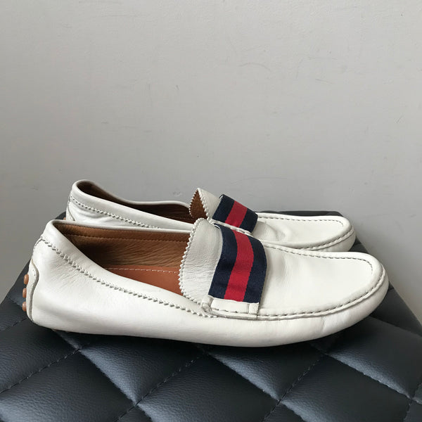 Gucci Ivory Men's Driving Loafers Size 8 (fits US 9)