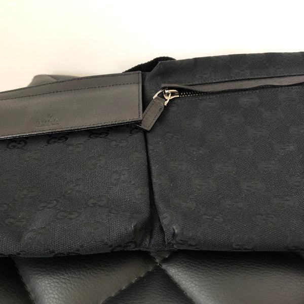 Gucci Monogram Black Classic Canvas Belt Bag