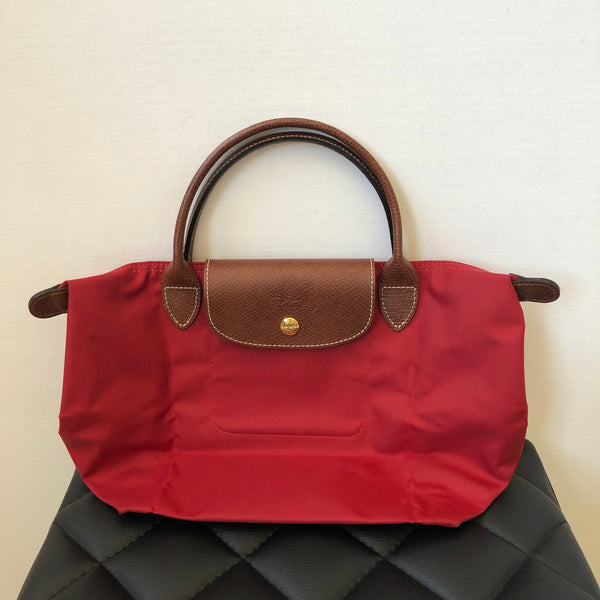 Longchamp 'Small Le Pliage' Red Short Handle Tote